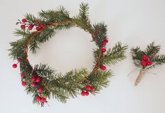 Winter Wedding Crown & Holiday Boutonniere by Sweet Little Sparrow via @Etsy #christmas #wedding