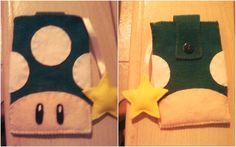 Cogumelo do Mario (vida) Porta celular. Feito de feltro.