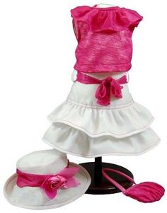 The Queen's Treasures® 18 Inch Doll Clothes Outfit, Hot Pink Skirt Set, Hat, Shirt, Skirt, Handbag