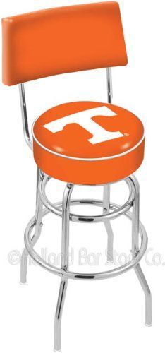 University of Tennessee 25 Inch Chrome Double Ring Swivel Bar Stool with Back