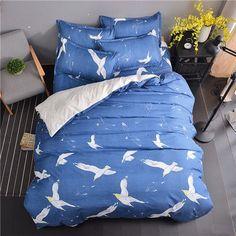 Doves In Flight Blue/White 4 piece Bedding Set