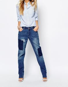 Noisy May Lotus Patched Straight Leg Jeans