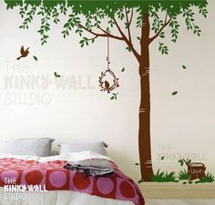Tree Wall Decal wall sticker  trees with birds wall von KinkyWall, $90,00
