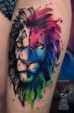 Watercolor Tattoos Will Turn Your Body into a Living Canvas - watercolor lion tattoo © tattoo artist Ewa Sroka Ewa Sroka ❤❤❤❤❤ - Wolf Tattoos, Key Tattoos, Cover Up Tattoos, Sleeve Tattoos, Fairy Tattoo Designs, Tattoo Designs For Women, Tattoos For Women, Paar Tattoos, Tatuajes Tattoos