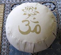 Zafu Meditation Cushion Pillow Om Lotus Natural