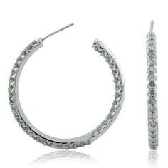 #Malakan #Jewelry - Platinum-Silver Diamond Hoop Earrings 83370D #Earrings #Hoops #Fashion