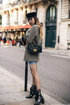 Fashion blogger Beatrice Gutu parisian style Chloe similar lace up boots with denim mini skirt and fishnet tights and Furla metropolis laser cut bag