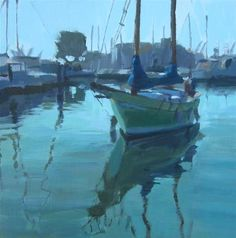 "Daily Paintworks - ""Green Sailboat"" - Original Fine Art for Sale - © Kaethe Bealer"