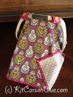Baby Car Seat Covers  Gray and Fuschia DAMASK and by kitcarsonblue, $49.50