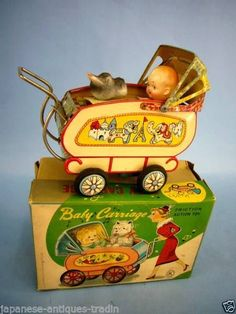 Japanese Antique Baby Carriage Friction Motion Old Vintage Litho Tin Toy