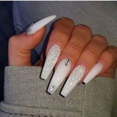 If you have problem with long nails, then try Acrylic Nails or artificial nails. Listed below are the Best Acrylic Nails Ideas for 2019 to take inspiration. Cute Acrylic Nail Designs, Best Acrylic Nails, White Acrylic Nails With Glitter, Coffin Nail Designs, Long White Nails, White And Silver Nails, White Nail Designs, Long Nail Designs, White Acrylics