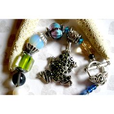 CHUNKY SEQUIN FROG Bracelet, Handcrafted Chunky Frog Beaded Bracelet, Hand Blown Glass Beads Pearls Vintage Beads ($28) found on Polyvore featuring women's fashion, jewelry and bracelets