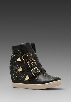 Steven Jeckle Sneaker Wedge in Black Leather. if someone would give this to me this christmas. i will be crying