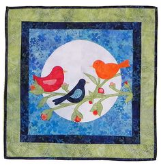 This is a cute Night Song Quilt made with AccuQuilt dies.  Love the birds!!