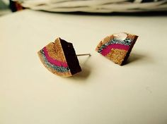 Martinuska / Mini triangles/cork earrings