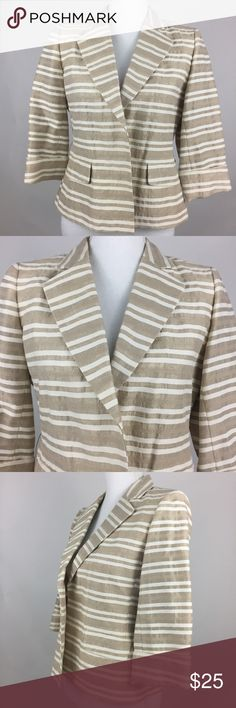 Jones New York womens Blazer Size small petite tan Brand: Jones New York Size: small petite Color: tan, beige Material: 49% cotto, 41% linen, 10% polyester Condition: Pre owned, no stains or rips Measurements laying flat  Armpit to armpit: 19.5''  Sleeves (shoulders seam to cuff): 16''  Length: 21.5''   Shipping is fast and the item comes from a clean, smoke & pet free home.  If you have any questions, please feel free to send a message. Thanks for looking & check out my closet for other…