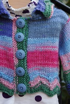 February Baby Cardigan knit in Liberty Wool Print by Classic Elite Yarns. Pattern by Susan Mills