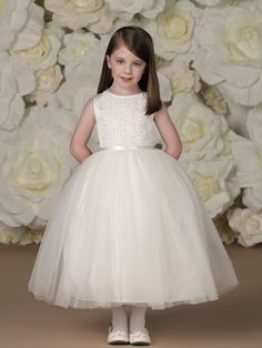 7acf70b15e4a1 Joan Calabrese Sleeveless Satin and Tulle Tea-length Flower Girl Dress -  Joan Calabrese Flower Girl Dresses