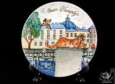 """Купить тарелка """"Кот Интеллигент"""" - комбинированный, тарелка с росписью, тарелка на стену, красивая тарелка, кот"""