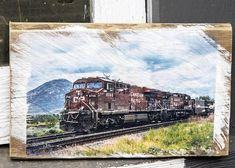 CP Train in Kamloops Wall Hanging, Fine Art Photograph Manually Transferred to Reclaimed Wood, Ready to Hang in your Home Mini Vacation, Custom Wall, Decorating Your Home, Im Not Perfect, My Photos, Photoshoot, Train, Fine Art, Wood