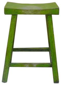 Chinese Green Lacquer U-Shaped Bar Stool - eclectic - Bar Stools And Counter Stools - Golden Lotus Antiques
