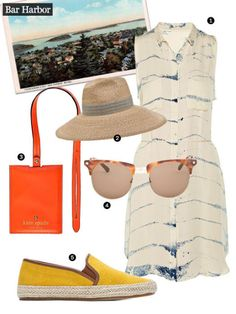 This famous Maine summer colony was first settled in 1763 and has served as an must-visit East Coast destination ever since. Learn more about the go-to Maine delicacy, lobster, at the Lulu Lobster Boat Ride, and then enjoy some of your own at Stewman's Lobster Pound. 1. Raquel Allegra tie-dye dress, $660, Net-a-Porter. 2. Filu Hats tambora hat, $645, Farfetch. 3. Kate Spade boarding call luggage tag, $68, Kate Spade. 4. Rag & Bone tortoiseshell sunglasses, $600, SSENSE. 5. Belle Sigerson…