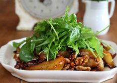 Maggie Beer's Baked Pear Salad with Belly Bacon and Walnuts