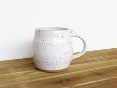 Single Stoneware Pottery Mug Coffee Cup in by dorothydomingo