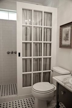 "Very cool idea for a ""shower door""... Salvage ideas - traditional - bathroom - dallas - swanky couch"