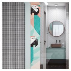 The aesthetics of the room in terms of simplicity, colors, materials' and motifs' combinations, are evocative of a playful and peaceful place in the city. Open Bathroom, Interior Architecture, Interior Design, Double Room, Peaceful Places, Aesthetics, City, Colors, Projects
