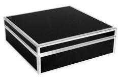 "9"" Hamish Jewelry Box w/ Piping, Black"