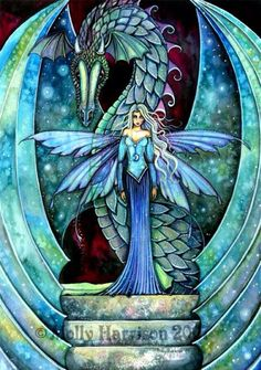 Fairy and Dragon - Art by Molly Harrison - Crystal Dragon Fairy Pictures, Dragon Pictures, Fire Dragon, Dragon Art, Green Dragon, Magical Creatures, Fantasy Creatures, Dragon Oriental, Dragons