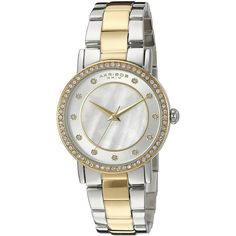 Akribos XXIV Round Silver and White Dial Three Hand Quartz  Bracelet... (£72) ❤ liked on Polyvore featuring jewelry, watches, two tone watches, quartz watches, silver jewellery, silver tone watches and polish silver jewelry