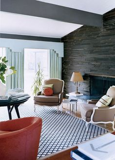 """""""This 1956 ranch house was given a major renovation by owners, designer Barrie Benson and   her architect husband Mat"""" via dust jacket"""