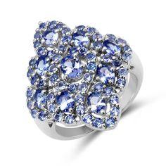 Malaika .925 Sterling Silver 3 1/3ct TGW Genuine Tanzanite Ring (Size-6, Blue), Women's, Size: 6
