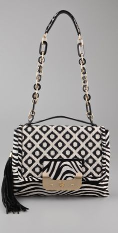DVF Black & White print purse