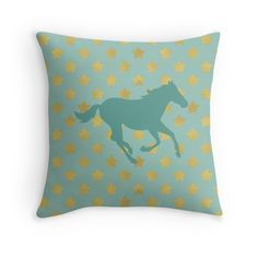 Horse and stars Throw Pillows # #horse #horses #animal #animals #babyblue #animalprinted #star #horsepillow #patternpillow #pillow #cushion #pony #trendy #fashion #country #runninghorse #countrystyle