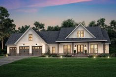 Farmhouse Style House Plan - 4 Beds Baths 2763 Sq/Ft Plan This farmhouse design floor plan is 2763 sq ft and has 4 bedrooms and has bathrooms. Garage House Plans, New House Plans, Rambler House Plans, Craftsman Style House Plans, Modern Farmhouse Plans, Farmhouse Style, Farmhouse Front, Farmhouse Decor, Design Living Room