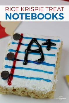 Make these super cute rice krispie treat notebooks for back to school!