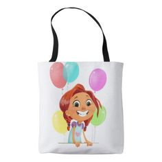 #Cute cartoony girl with balloons smiling tote bag - #giftideas for #kids #babies #children #gifts #giftidea