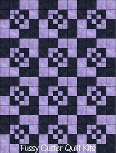 Amish Boxes Prim Patchwork Pattern Lavender Purple Black Fabric Fast Easy Make Pre-Cut Quilt Blocks Top Kit Quilting Squares Pieces Material