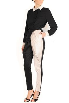 Pantaloni conici din bumbac satinat Lab, Duster Coat, Pants, Jackets, Fashion, Trouser Pants, Down Jackets, Moda, Fashion Styles