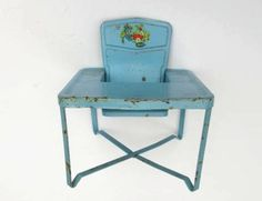 vintage - Amsco baby doll high chair with colorful decal of a bear and a duck
