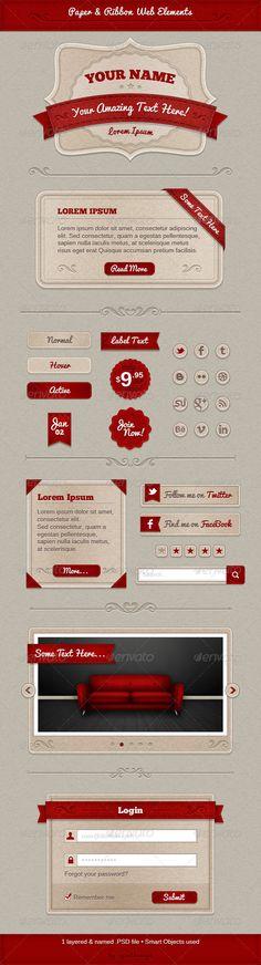 Paper & Ribbon Web Elements - GraphicRiver Item for Sale