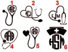 Stethoscope Monogram Decals