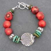 Stamped Sterling and Organic Coral Bracelet... would be cool to use your child's stamped fingerprint