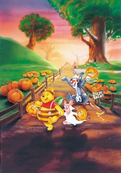 Halloween - Disney - Winnie-The-Pooh - Piglet & Tigger Disney Halloween, Winnie The Pooh Halloween, Tigger Winnie The Pooh, Bear Halloween, Winnie The Pooh Friends, Halloween Cartoons, Pooh Bear, Eeyore, Happy Halloween