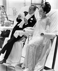 Rex Harrison and Audrey Hepburn between takes on My Fair Lady