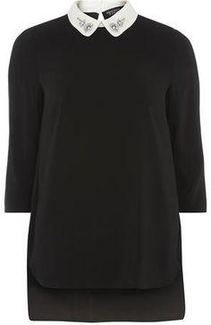 Black Embellished Collar Top