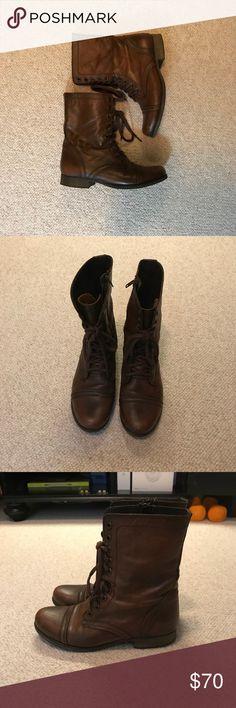 STEVE MADDEN TROOPA COMBAT BOOTS Good condition Steve Madden combat boots with inside zipper.  Made with leather. Brown leather color. Steve Madden Shoes Combat & Moto Boots